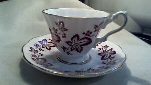 Vintage Rosina Bone China White Purple Floral W Gold Trimming Cup