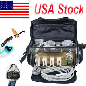 Portable Dental Turbine Unit Messenger Bag Air Compressor Syringe W Curing Light