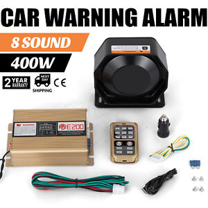 In 400w 8 Sound Loud Car Warning Alarm Police Fire Siren Pa Mic System Led Seat