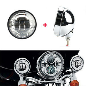 4 5 Motorcycle Fog Passing Light Outer Cover Housing Bracket Trim For Harley