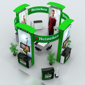 20ft Portable Custom Trade Show Display Booth Exhibit Sets Counters Light Banner