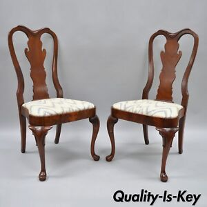Pair Of Vintage Queen Anne Style Crotch Mahogany Dining Room Side Chairs