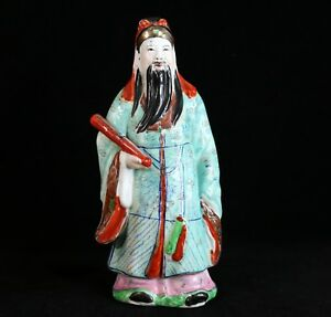 Chinese Antique Porcelain Famille Rose Lu Immortal Figurine 10 1 8 H