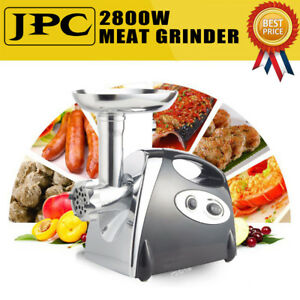 2800w Electric Meat Mincer Grinder Stainless Steel Sausage Kubbe Maker Pasta Usa