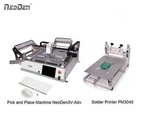 Cheap Smt Pick And Place Machine Vision 42 Feeders Solder Printer Neoden3v adv