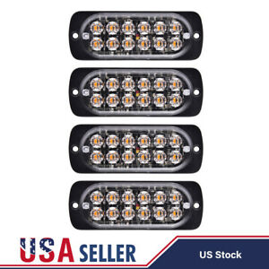 4x Amber 12 Led Strobe Light Bar Truck Hazard Beacon Flash Warning Emergency 36w