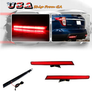 2x European Style Lh Rh Led Rear Fog Lights Bumper Reflectors For Ford Explorer