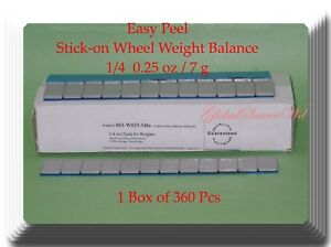 360 Pcs 1 Box Of 360 Easy Peel Stick On Wheel Weight Balance 1 4 0 25oz 7g