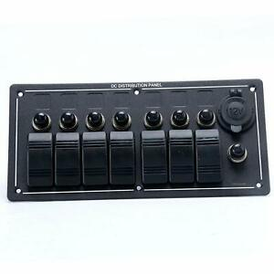 Waterproof Aluminium Led Rocker cig Socket Circuit Breaker 7 Gang Switch Panel