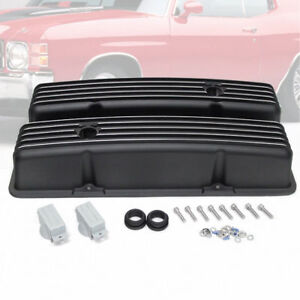 Retro Finned Black Aluminum Tall Valve Covers Fit 58 86 Sbc Chevy 350 327 400