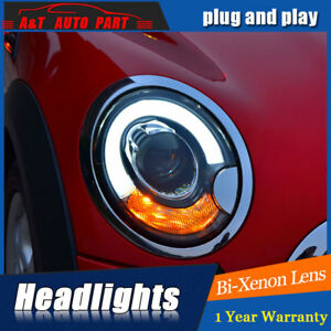 Headlights Assembly For Bmw Mini R56 2007 2012 Bi Xenon Lens Projector Led Drl
