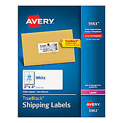 Avery r Trueblock r White Laser Shipping Labels 2in X 4in Box Of 2 500