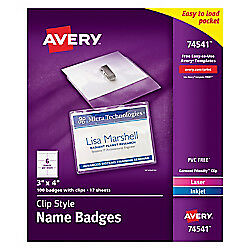 Avery r Clip Style Name Badges Top Loading 3in X 4in Box Of 100 74541