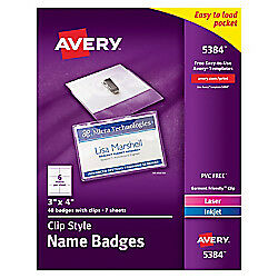 Avery r Clip Style Name Badges Top Loading 3in X 4in Box Of 40