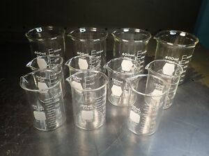 11 Pieces Of Kimax Pyrex 400ml 150ml Graduated Glass Beakers New