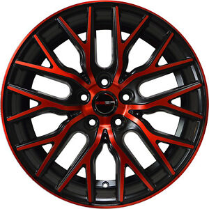 4 Gwg Wheels 18 Inch Black Red Face Flare Rims Fits Volvo S70 2000