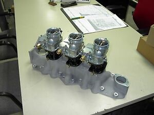 Nos Offy Offenhauser 42 48 59a Ford Mercury Flathead Stromberg 97 3 Carb Intake