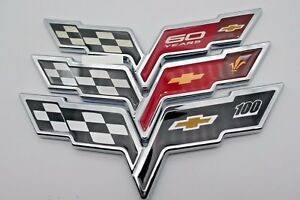 New 3d Emblem Corvette Cross Flags Sticker Badge Decal Chrome Red For Chevrolet