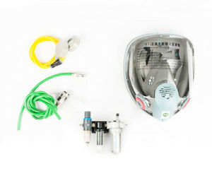 Air Supply Full Face Mask Respirator Gas Mask Kit With 3 Stage Filter For Paint