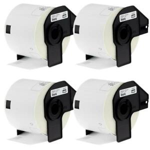 4 Rolls Compatible For Brother Dk1202 Dk11202 Shipping White Paper Labels 300pcs