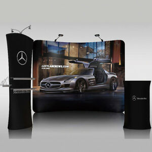10ft Curved Trade Show Display Pop Up Banner Booth Exhibits With Custom Printing