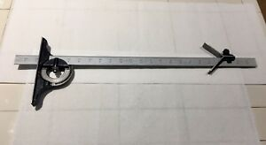 24 Starrett No 16r Grad Ruler With Protractor And Center Finder