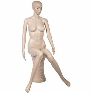 Realistic Features Seated Female Sitting Display Mannequin W Pedestal Base