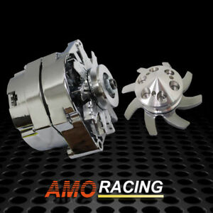 Chrome 120 Amp 10si 1 3 Wire Alternator 1 Groove Pulley Fan Kit Fit Gm Chevy