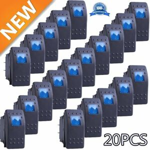 20 X Waterproof Marine Boat Car Rocker Switch 12v Spst On off 4pin 4p Blue Led E