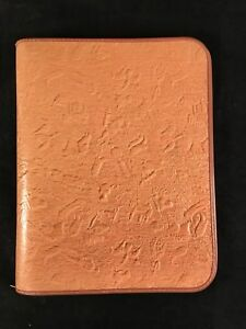 Western Genuine Cowhide Leather 3 Ring Binder Embossed Horses Bulls Boots Steer
