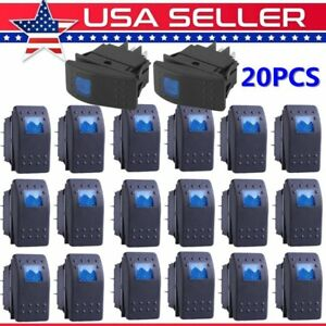 20x Waterproof Marine Boat Car Rocker Switch 12v Spst On off 4pin 4p Blue Led Wn