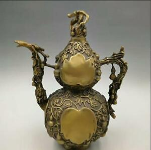 Chinese Handmade Antique Bronze Carved Exorcise Fengshui Cucurbit Flagon Pot