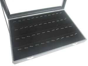 Glass Top Lid Black Velvet Jewelry Display Box For Pendants Charms 56 Clips