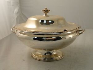 Soup Tureen Punch Bowl Silver Plated Medium Size English Simple C 1890 Antique