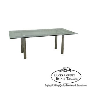 Mid Century Modern Chrome Base Rectangular Glass Top Dining Table