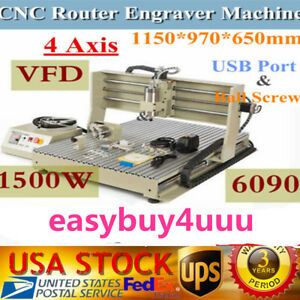 Usb 4 Axis 6090 Cnc Router Engravering Machine1500w For Wood Acrylic Ball Screw