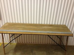 Antique Ridgely Wallpaper Table 6 Foot Ruler Primitive Sofa Table Fold Up Wood