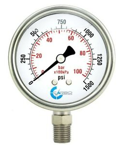 2 1 2 Pressure Gauge Stainless Steel Case Liquid Filled Lower Mnt 1500 Psi