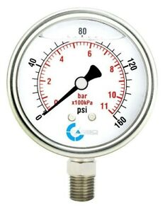 2 1 2 Pressure Gauge Stainless Steel Case Liquid Filled Lower Mnt 160 Psi
