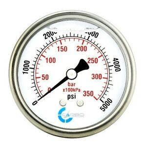 2 1 2 Pressure Gauge Stainless Steel Case Liquid Filled Back Mnt 5000 Psi