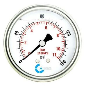 2 1 2 Pressure Gauge Stainless Steel Case Liquid Filled Back Mnt 0 160 Psi