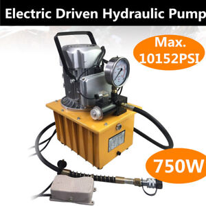 Electric Driven Hydraulic Pump 10000 Psi pedal Solenoid Valve Pump 750w New Us