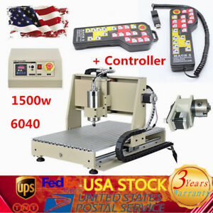 4 Axis Cnc 6040 Wood Engraving Carving Milling Machine 1500w Vfd Router Engraver