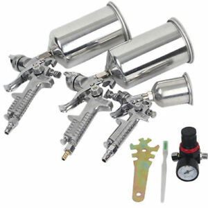 Air Spray Gun 4pc Pro Hvlp Paint Auto Car Automotive Shop Painting Tools Kit Set