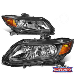 For 2012 2015 Honda Civic Ex Lx Black Housing Amber Headlamp Assembly Headlights