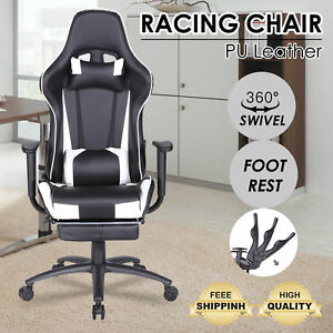 Racing Office Gaming Chair High Back Executive Reclining Office W footrest