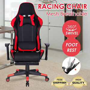 Racing Gaming Chair Adjustable Executive High Back Headrest Footrest Armchair