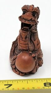 Vintage To Antique Japanese Boxwood Or Wood Signed Netsuke Dragon 5 Rcz