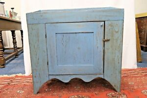 Antique Blue Painted Dry Sink Wash Stand