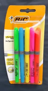 Bic Highlighters Grip Pack Of 5 Assorted Colour Fluorescent Marking Pen School